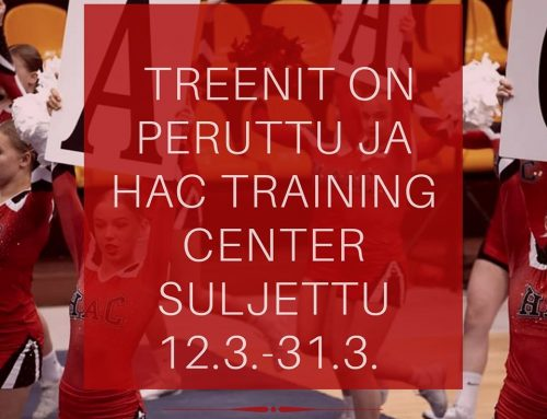 Treenit peruttu ja HAC Training Center suljettu 12.3.-31.3.2020 välisenä aikana